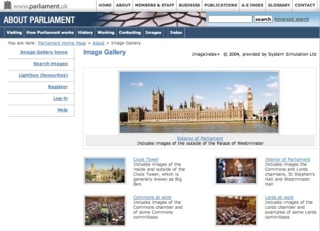 image of a website with a picture of the houses of parliament on it